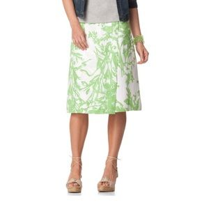 NEW COLDWATER CREEK Lime Abstract Print Wrap Skirt